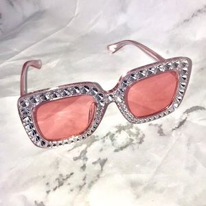 Accessories - NEW Large crystal like pink square sunglasses
